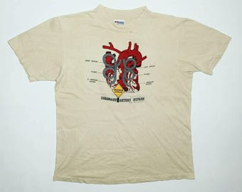 Rare!! Vintage 80s Anatomy Of Heart Graphic Art T Shirt ©1985 US L / EU 52-54 / 3