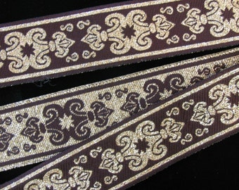 SENECHAL, 3 yards REVERSIBLE Jacquard trim in gold and very dark midnight brown. 1 1/8 inch wide. 583-D