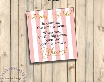 Baby Girl, Navy, Gold & Pink Baby Shower Decorations, Thank you Tag, Favor Tag, Party Thank You Gift Tag, 2.5x3 Printable, Custom Digital