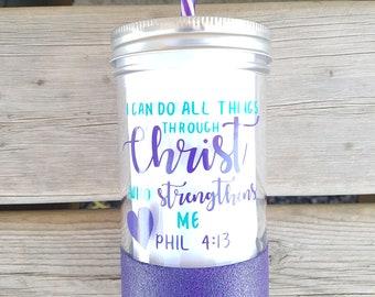 I can do all things through Christ* religious*mason jar drinking glass* Glitter dipped mason jar* glass drinkware* reusable straw*