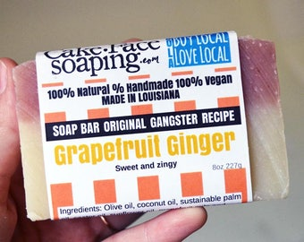 Grapefruit and Ginger Energizing clarifying vegan natural soap