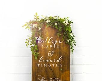 Custom Wedding Signs, Wood Wedding Sign, Couples Name Sign, Wedding Date Sign, Custom Wood Sign, Engagement Gift, Wedding Gift (GP1130)