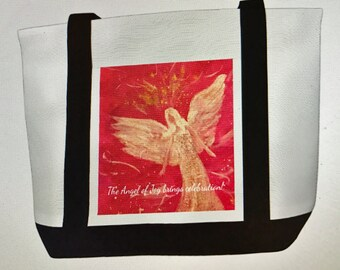 Canvas Tote Bag with The Angel of Joy  Original Artwork