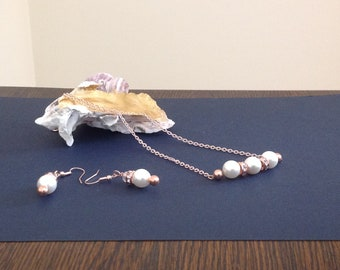 Pearl and Rose Gold necklace and earring set