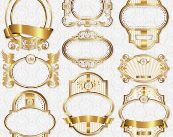 25 Gold Frames | Labels | Text Boxes | Clipart Transparent Background Digital PNG Instant Download