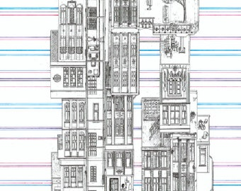 "Long'an Tower, Taipei City, 1948: Imaginary Skyscraper. Architecture Giclee Art Print. Taiwan Cityscape. 73 x 28cm (28.7 x 11"") LE #10"