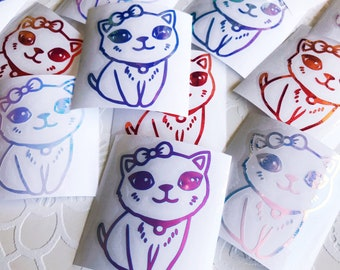 Holographic Vinyl Cat Decals Pink/Opal/Blue