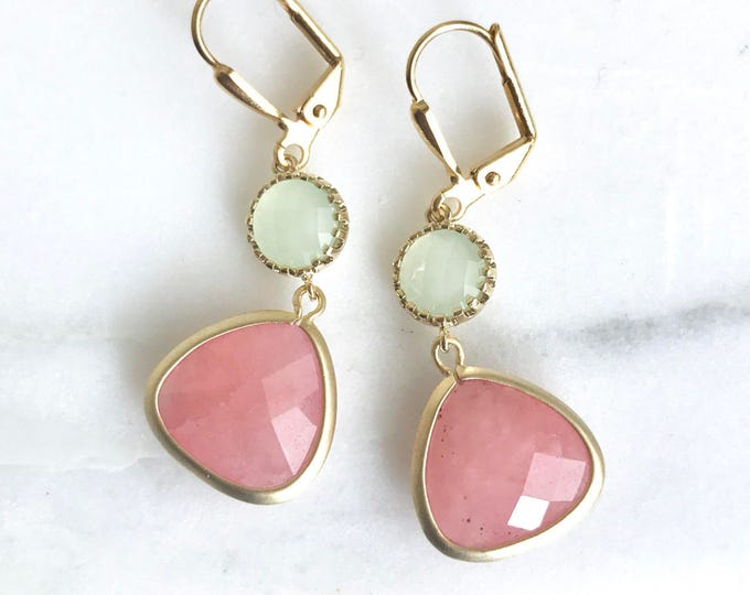 Coral Pink Teardrop and Light Mint Dangle Earrings in Gold. Earrings. Drop Earrings. Coral Dangle Bridesmaid Earrings.