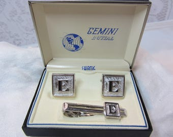 "SWANK Gemini Initial ""E"" Silver Tone and Black Enamel Men's Accessory Set - Cuff Links and Tie Clip"