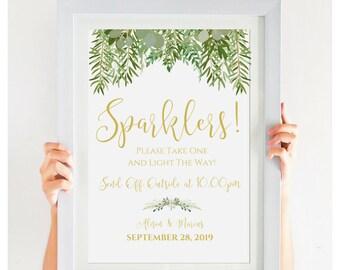 Wedding Sparkler Send Off Sign, Editable PDF, Wedding Template, Greenery Wedding Decor, Gold Wedding, Instant Download, 8x10, #IDWS604_29C