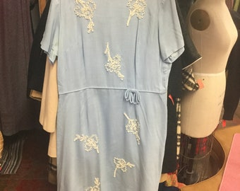 Baby Blue 1950's Dress 38 waist Plus Size Vintage