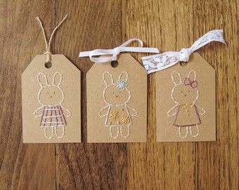 Bunny gift tag DIY embroidery craft kit