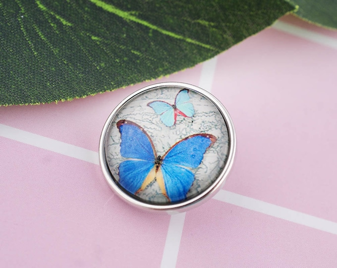 Butterfly Snap - Blue Butterfly Snap - Compatible with Gingersnaps - - Ginger Snaps -  Magnolia and Vine - Noosa 18-20mm Base - Enamel Snap