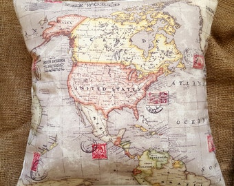 "Atlas World Map 16"" Cushion Cover"