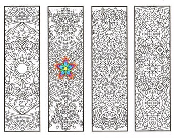 Coloring Bookmarks - Advanced Flower Mandalas Page 1 - coloring for adults, big kids and your resident bookworm - printable DIY bookmarks
