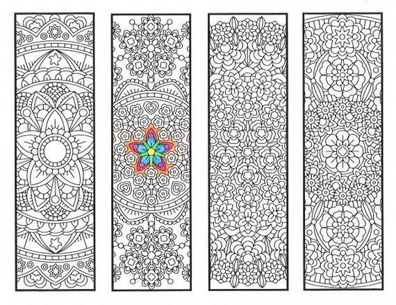 Coloring Bookmarks Advanced Flower Mandalas Page 1