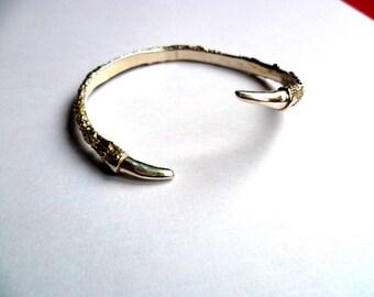 Bird talon claw cuff silver bracelet