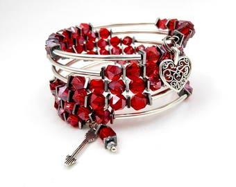Silver and red bracelet, silver wrap bracelet, silver memory wire bracelet, memory wire wrap bracelet, valentines bracelet, valentines gift
