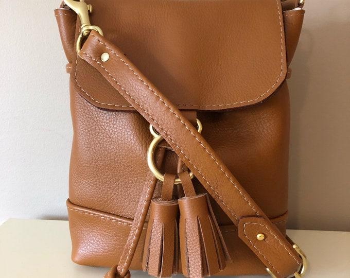 Evie Crossbody /Handmade Small Drawstring Leather bag with Flap/ small leather bag / Leather Crossbody