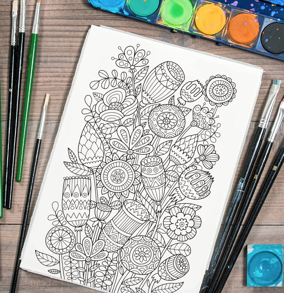 Adult coloring page: Ethnic flowers. Doodle art DIY coloring