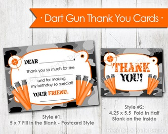 Dart Gun with Black Camo Thank You Cards- Instant Download