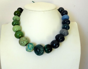 handmade ceramic beads necklace.  grey blue green shades enamel