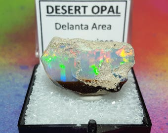 Sale OPAL 6.5 Gram Natural Rainbow Flash Desert Opal Gemstone Mineral Specimen In Perky Display Box From Ethiopia