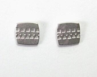 Silver Pattern Stud Earrings