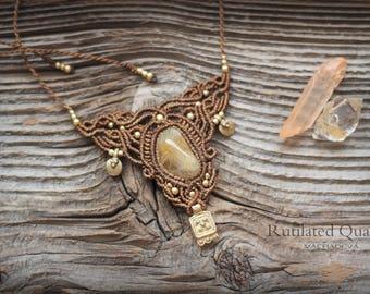 Macrame necklace with Rutilated Quartz