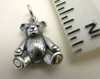 925 Sterling Silver 3D Teddy Bear Charm, Play, Toy, Perfect! Boxed!