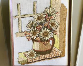 Vintage framed crewel, 70s vintage crewel, floral crewel, wall hanging, boho decor, floral art