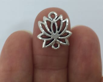 8 Lotus Connector Charms Antique Silver - LOT09