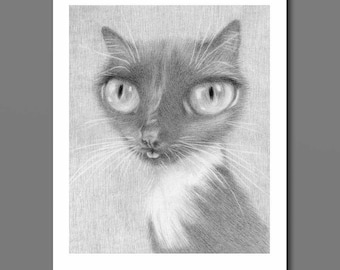 Tuxedo Cat Art Print, cat tongue blep, derpy cat art, black and white cat art, black cat drawing, big eye art, pop surrealism, lowbrow cat