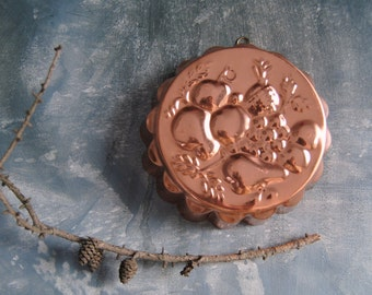 Copper Mold With Fruit Design | Vintage Jelly Mould | Vintage Kitchenware | Wall Hanging