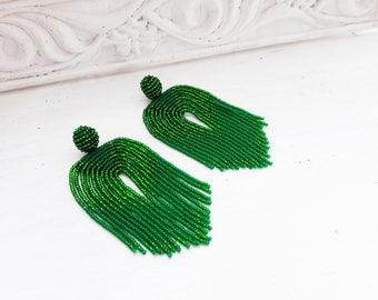 Green statement earrings Waterfall tassel earrings Long tassel earrings Boho fringe earrings Extra long earrings Beadwork Jewelry Earrings