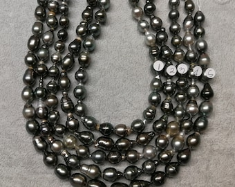 Ultra-Luster Circle-Drop/Baroque Tahitian Cultured Pearl Necklace Strands - Rich Skin Touch-LOT33