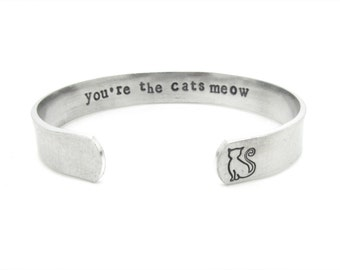 crazy cat lady, cat jewelry, cat lover gift, bracelet, you are the cats meow, silver bracelet, hand stamped,  birthday gift, rescue mom