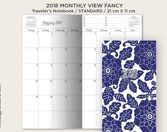 2018 Monthly Planner Insert PDF Standard Size - Traveler's Notebook - Printable Insert - Fancy Script Typography