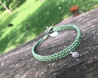 Green Hemp Cord Anklet with Sterling Charms