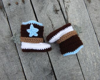 0-3 Month Cowboy Boots; Western Baby Booties; Crocheted Cowboy Boots; Baby Shoes with Spurs; Handmade by Anna