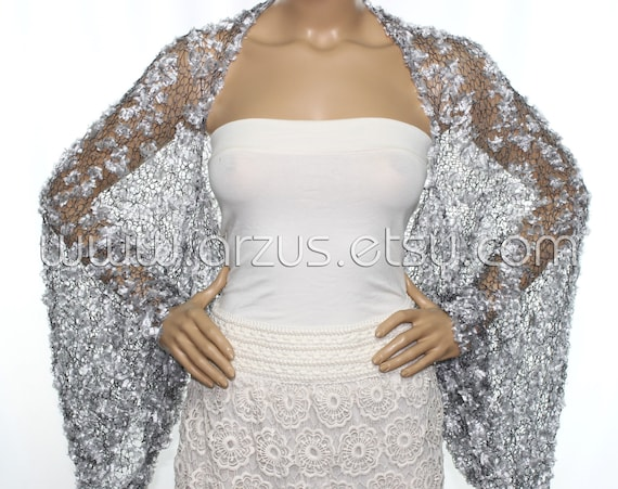 Wedding Shrug Knit Silver Shrug Cover Ups Shawls Wraps Long