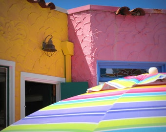 Candy Colored Umbrella - Pink and Yellow Beach Cottage - Capitola by the Sea - Original Color Photograph by Suzanne MacCrone Rogers
