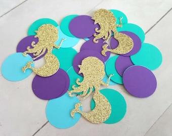 325 Mermaid Confetti, Gold Glitter Mermaid Confetti, Mermaid Bridal Shower Decorations, Mermaid Birthday Decorations, Mermaid Party Decor