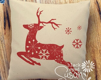 """Flying Reindeer Christmas Pillow Cover with Snowflakes 