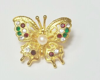 Rhinestone Gold Faux Pearl 1950's Vintage Bolo Slide Butterfly Costume Jewelry Gift For Her on Etsy