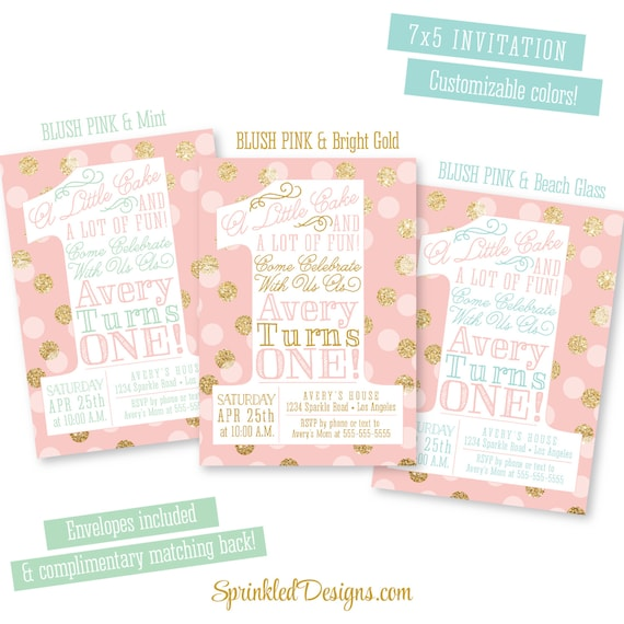 First Birthday Party In A Box In Gold Mint And Pink: Pink And Gold Girl 1st Birthday Invitations Blush Pink Gold