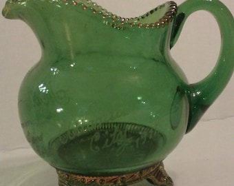 100 yr old Emeral Green Pitcher