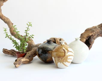 Decorative Clay Pottery, Collection of Three Ceramic Pots