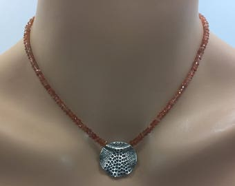 Sunstone Rondelle Necklace  with  Hill Tribe Silver Focal Bead in Sterling Silver