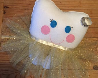 Princess Glitter Tooth Fairy made in felt, complete with accessories